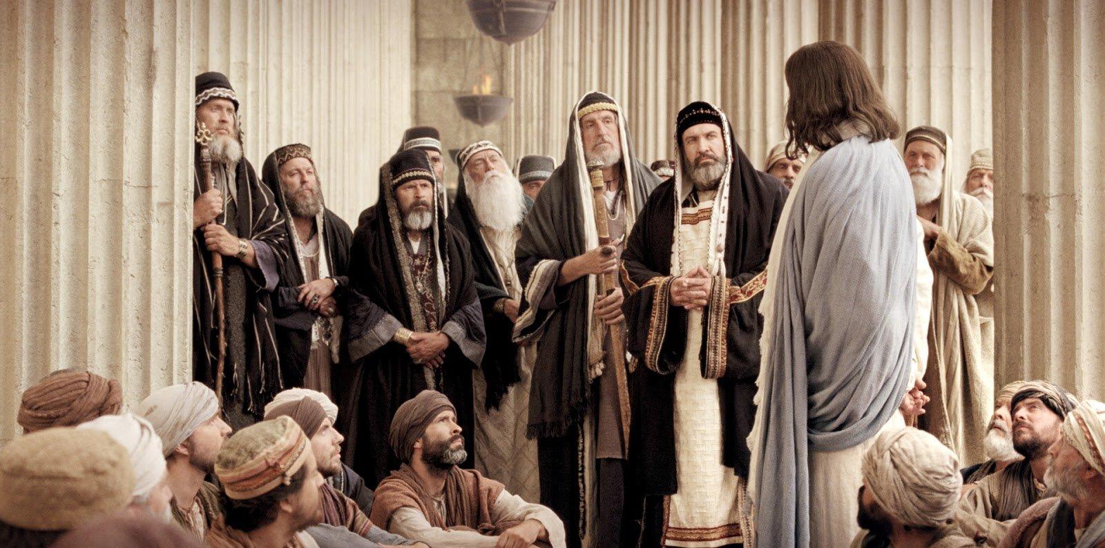Jesus before the hypocrites.